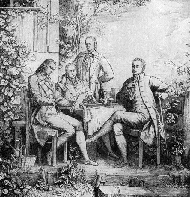 Adolph Müller - Friedrich Schiller, Wilhelm und Alexander von Humboldt und Johann Wolfgang von Goethe in Jena