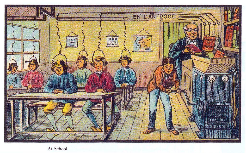 Bild (auch als Beitragsbild): In der Schule im 21. Jhdt. – Jean Marc Cote (um 1900) oder Villemard (um 1910) – Frankreich im XXI Jahrhundert auf den Wikimedia Commons.