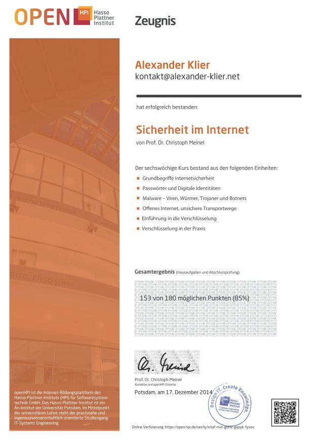 Open HPI - Sicherheit im Internet (Zeugnis)